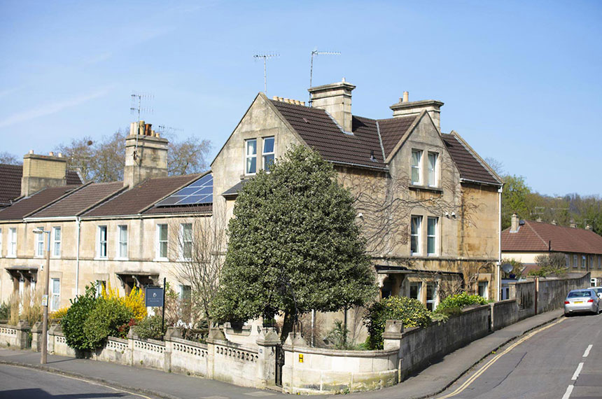 Exterior shot of Brindleys Boutique B&B in Bath