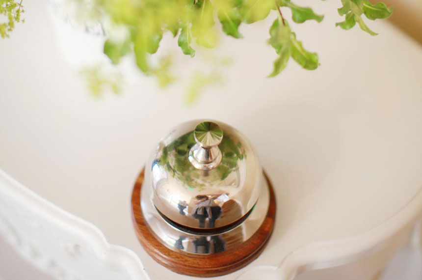 The traditional service bell at Brindleys B&B
