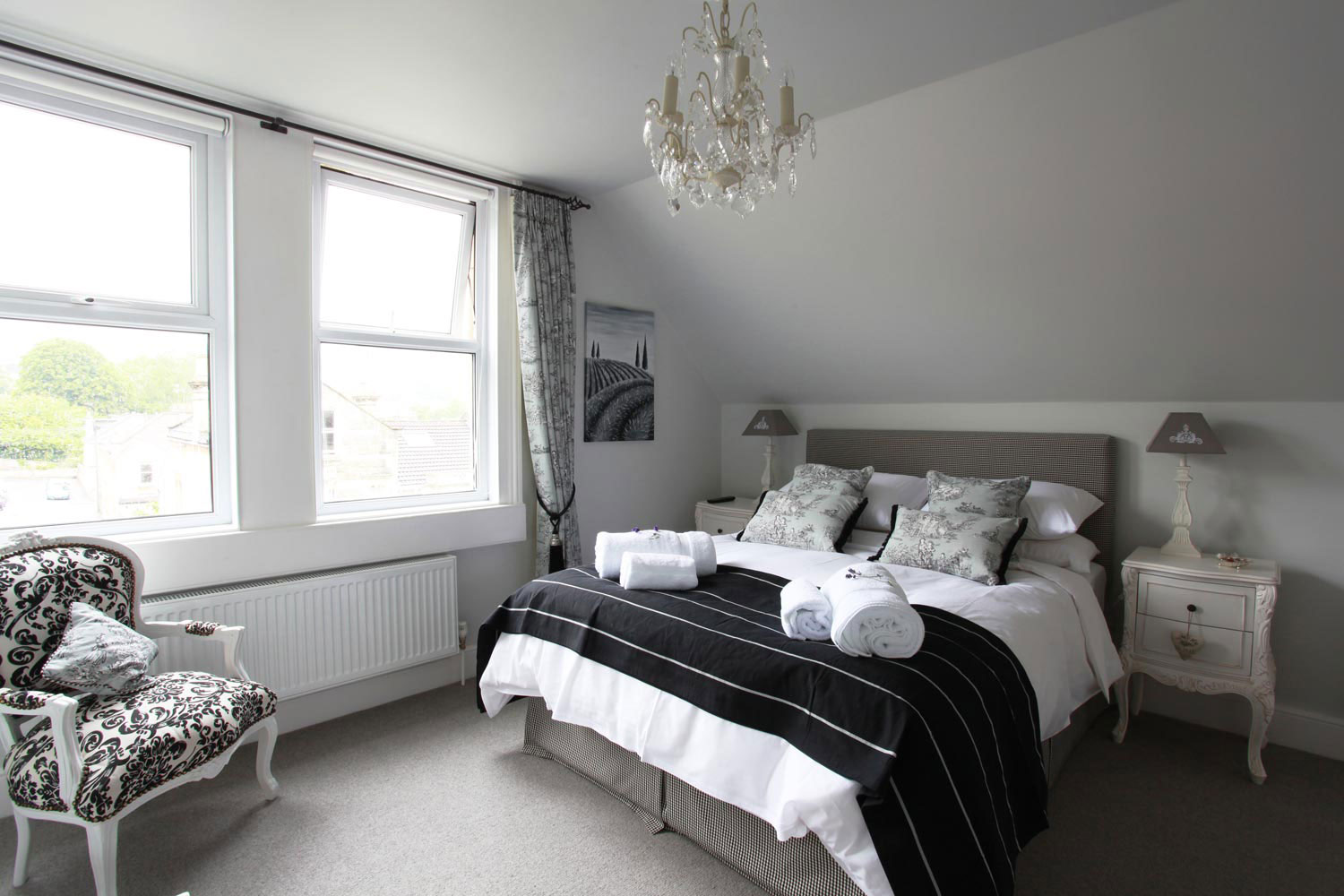 Black and white bedroom at Brindleys Luxury B&B in Bath
